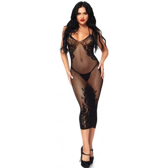 Vestido de Encaje y Malla Negro